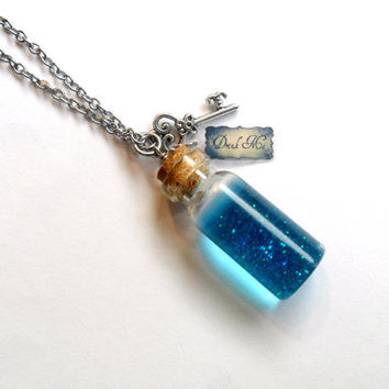 Alice In Wonderland Drink Me Bottle Charm Necklace, Silver Plated or Stainless Steel Chain, Cute, Kawaii :D