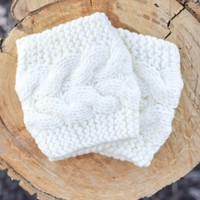 Cream Cable Knit Sweater Boot Cuffs
