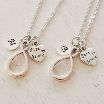 best friend necklaces, personalized necklace, infinity necklace, infinity jewelry, bff, bridesmaid gift, silver necklace, matching necklace