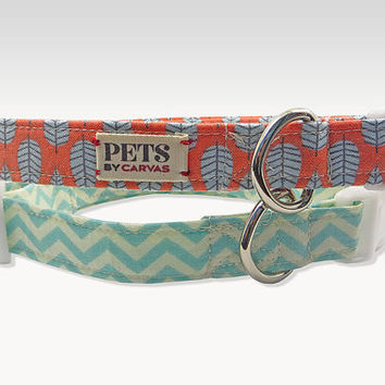 1 Medium Dog Collar / READY MADE / Chevron / Teal, Cream / Leaf / Coral, Baby Blue