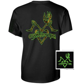 Country Life Outfitters Black & Green Deer Kiss Heart Love Hunt Vintage Unisex Bright T Shirt