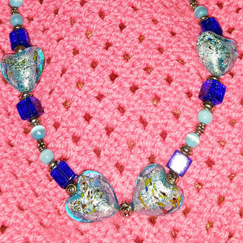 Beautsiful Blue and Aqua Bead Necklace With Heart Shaped Beads and Toggle Clasp