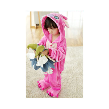 Kids Cute Cartoon Sleepwear Pajamas Cosplay Costume Animal Onesuit Suit Fancy Dress   Pink stitch