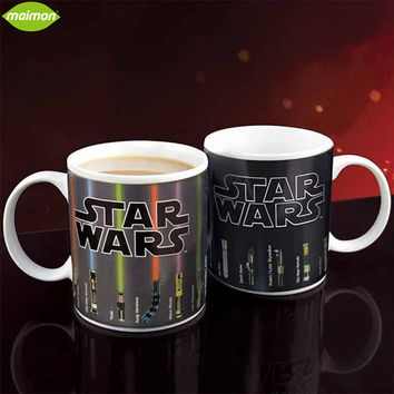1pcs White Porcelain Star Wars Lightsaber Heat Reveal Mug Color Changeable Coffee Cup 330ml Sensitive Morphing Milk Mugs