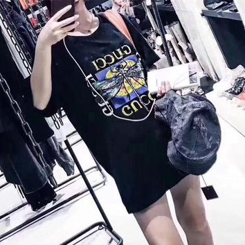 CUPCUPLQ Gucci' Women Casual Fashion Dragonfly Embroidery Butterfly Letter Pattern Print Short Sleeve T-shirt Tops Tee