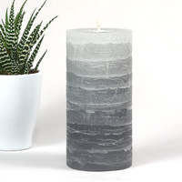 Gray Pillar Candle - Striped - Rustic - 3x6 inches