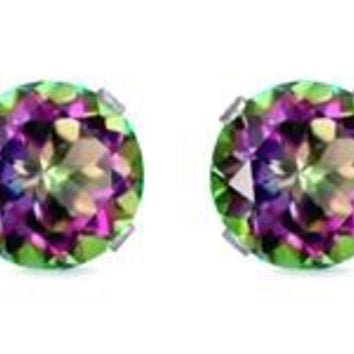 Round Genuine Rainbow Mystic Topaz Sterling Silver Stud Earrings
