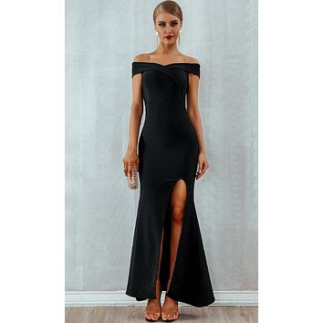 Dreaming Of Forever Off The Shoulder Sweetheart Neckline High Slit Maxi Bandage Dress - 2 Colors Available