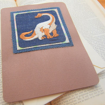 Little Boy Birthday Card/ Dinosaur Birthday Card/ Dinosaur Card/ Vintage Dinosaur Patch Card/ Handmade Dinosaur Card