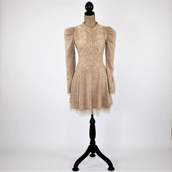 Victorian Boho Dress Long Sleeve Sweater Dress Fit & Flare Puff Sleeve Skater Dress Beige Knit Dress XS Small Womens Clothing Vintage Style