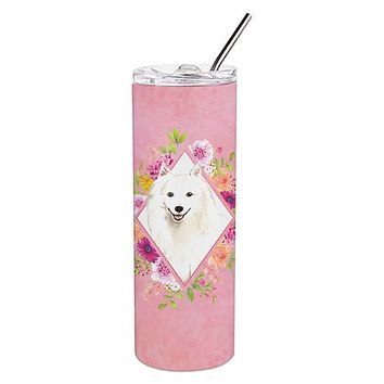 Japanese Spitz Pink Flowers Double Walled Stainless Steel 20 oz Skinny Tumbler CK4229TBL20