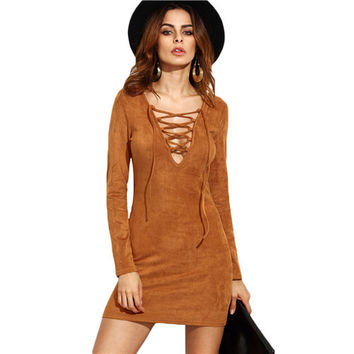 Ladies Sheath Autumn Dresses Women Long Sleeve Camel Faux Suede Lace Up V Neck Sexy Mini Bodycon Dress-0331