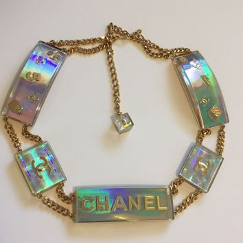 RARE! VTG Chanel Multicolor Holographic Hologram 90s Lucite Logo Belt 1997 S