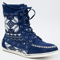 Bamboo SIDONY-11 Comfy Tribal Pattern Design Lace up Flat Moccasin Boot Booties