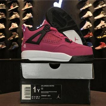 DCCKIJ2 Kid's Air Jordan 4 Retro Leather Basketball Shoes Pink