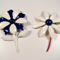 Vintage Enamel Flower Brooches Pins Red White Blue Vintage Brooches Vintage Pins Lot of Two Vintage Jewelry Patriotic Jewelry