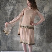 1920s Sheer Pink F;a[[er Dress Gold Trim