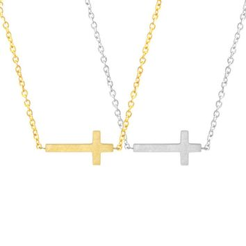 Cross Bar Stainless Steel Pendant Necklace