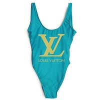 LV Louis Vuitton SWIMMER SWIM TAN TOP VEST SHIRT V NECK WOMEN LETTERS BOTTOMING CLOTHES