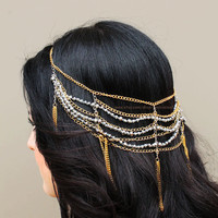Gold chains and grey crystal beaded multistrand Headchain, Show stopping Hair Chains, Tiered hair accessories, fashion headdress, tassel
