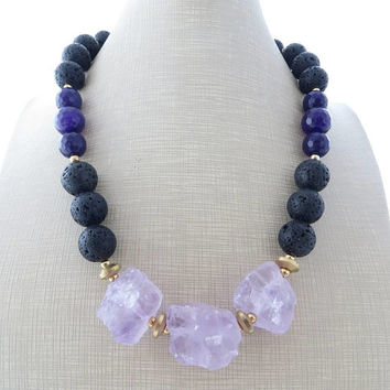 Amethyst necklace, chunky necklace, black lava rock necklace, big bold necklace, purple jade necklace, beaded necklace, gemstone jewelry