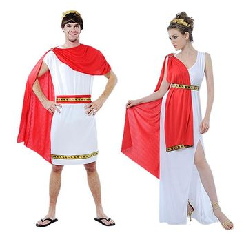 Greek Goddess Costumes Women Sexy Deep V-neck Split White Halloween Ancient Egypt Prince Costumes for Women with Belt Arm Wear