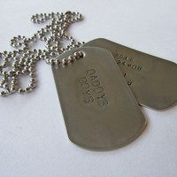 Personalized Military Dog Tag Necklace - 2 tags - Men's - Dad - Father - Grandpa - Son - Guys - Kids Names - Uncle - Brother - Boyfriend
