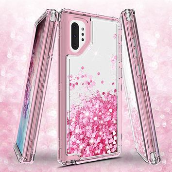 Samsung Galaxy Note 10 Plus Case,Hard Clear Glitter Sparkle Flowing Liquid Heavy Duty Shockproof Three Layer Protective Bling Girls Women Cases for Samsung Galaxy Note 10 Plus - Pink