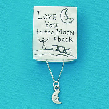 "Pewter Wish Box and Necklace ""Love You To The Moon And Back"" and Man In The Moon"