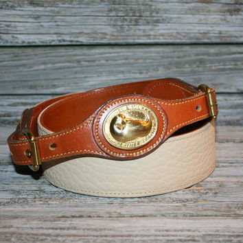 90s Dooney and Bourke Vintage Belt Cream White Leather Womens Belts Brass Buckle 1990s Vintage Accessories