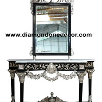 Fabulous Baroque Louis XVI Style Hand Carved French Reproduction Console Table and matching mirror