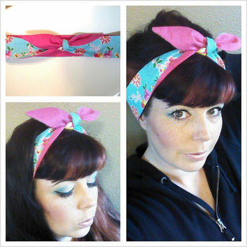 Aqua floral and Hot Pink double sided Headwrap Bandana Hair Bow Tie 1940s 1950s Style