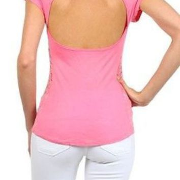 Sexy Round Neck Cutout Wrapped Back Lace Side Fitted T-Shirt Top Blouse Rayon