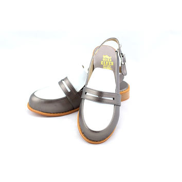 Michelle grey masculine penny ball flats