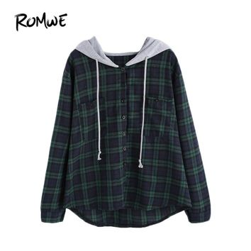 Womens Sweatshirt Pullover Hoodies Sweatshirts Autumn Ladies Plaid Button Pocket Sweatshirt