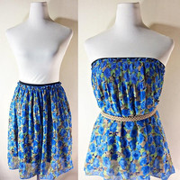 Blue Rose Skater Skirt: floral, mini, free size