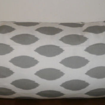Decorative Body Pillow Cover FREE DOMESTIC SHIPPING  - Approx 20 X 54 inch Gray and White Ikat Chipper