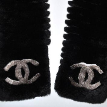 CHANEL 15A MOST WANTED CC LOGO ORYLAG FUR BLACK/LIGHT BROWN SCARF WRAP STOLE,NEW