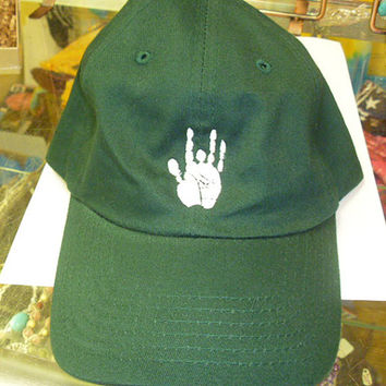 Jerry Garcia Hand Grateful Dead Style Baseball Cap Hat on Green