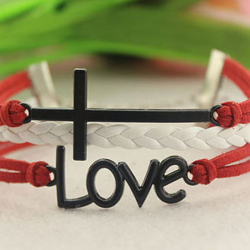 love cross bracelet--Electrophoresis black charm,white braid leather and red cord