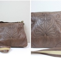 Gianni Bini Dark Brown Leather Cross Body Messenger Bag with a stitching embroidery over the front flap