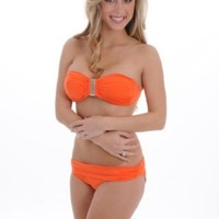 Vix Hermanny Women Convertible Bandeau Bathing Suit Orange Bikini 2 Pc Set