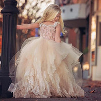 Fluffy Tutu Champagne Flower Girl Dresses for Wedding Party 2017 Lace Cap Sleeve Baby Communion Gown Bow robe de bal fille FG09