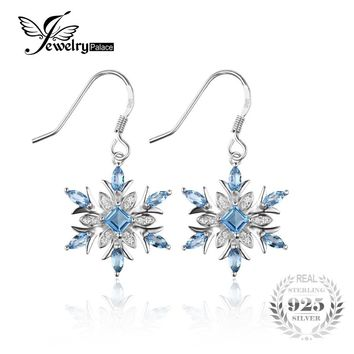 JewelryPalace Snowflake 1.54ct Natural Blue Topaz Dangle Earrings Genuine 925 Sterling Silver Earring for Women Fashion Jewelry