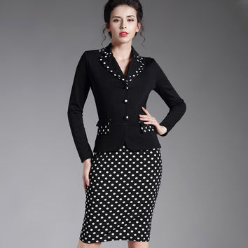 Women's Patchwork Plaid Long Sleeve Work Wear Outfit Suits