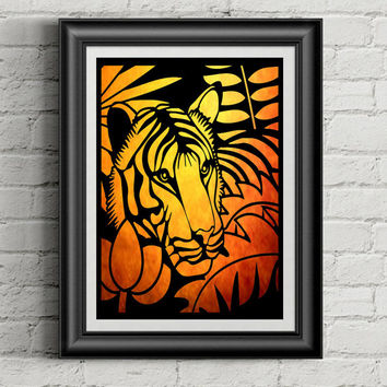 Animal Art - Tiger Decor - Papercut Art - Animal Artwork - Gift For Him - Boys Room Decor - Jungle Nursery - Toddler Boy Room
