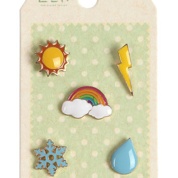 Weather Rainbow Sun Pin Brooch Set