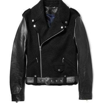 Acne Cassidy Leather-Sleeved Wool Biker Jacket | MR PORTER