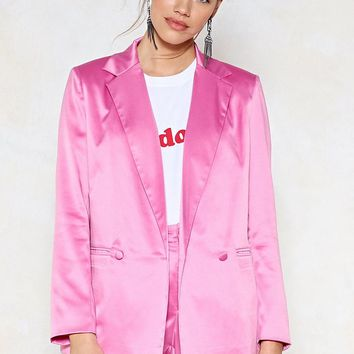 Sleek 'Em Out Satin Blazer