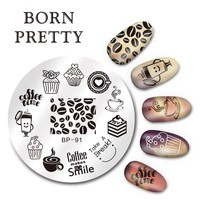 BORN PRETTY 1 Pc Round 5.5cm Stamping Plate Nail Art Stamp Template Coffee Time Design Image Plate BP-91